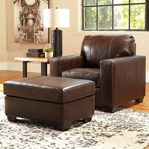 Contemporary Leather Match Chair & Ottoman