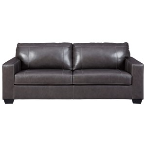 Contemporary Leather Match Queen Sofa Sleeper with Memory Foam Mattress