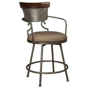 Upholstered Barstool with Metal Frame & Swivel Seat