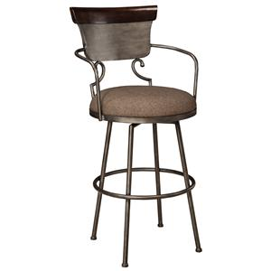 Tall Upholstered Barstool with Metal Frame & Swivel Seat