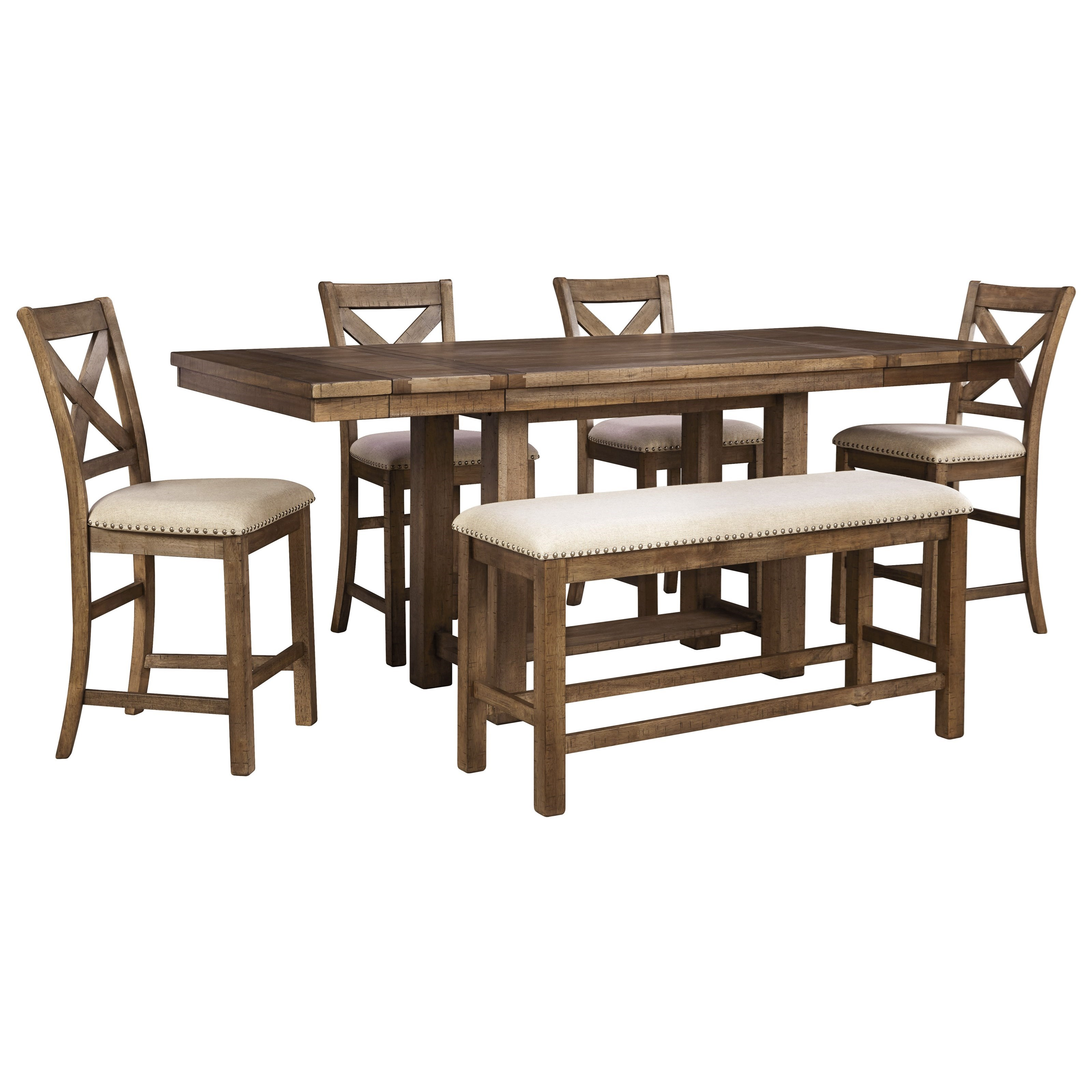 Moriville 6-Piece Rectangular Counter Table w/ Bench by Signature Design by Ashley at Godby Home Furnishings
