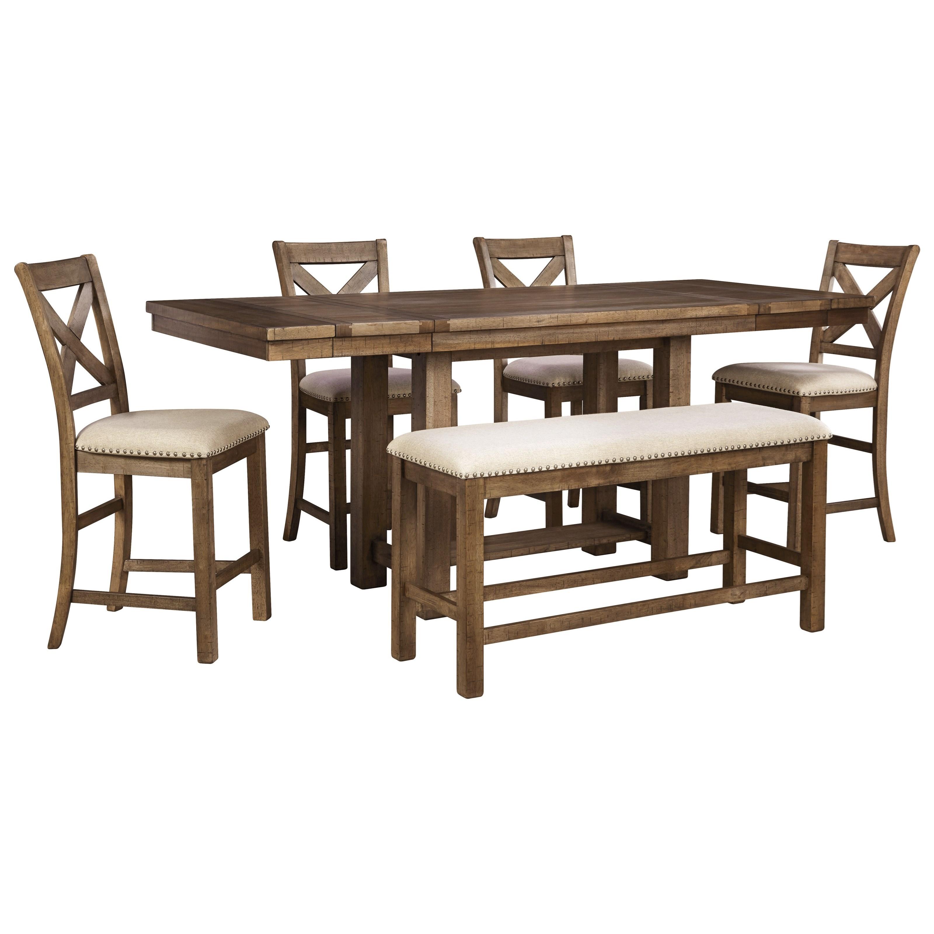 6-Piece Rectangular Counter Table w/ Bench