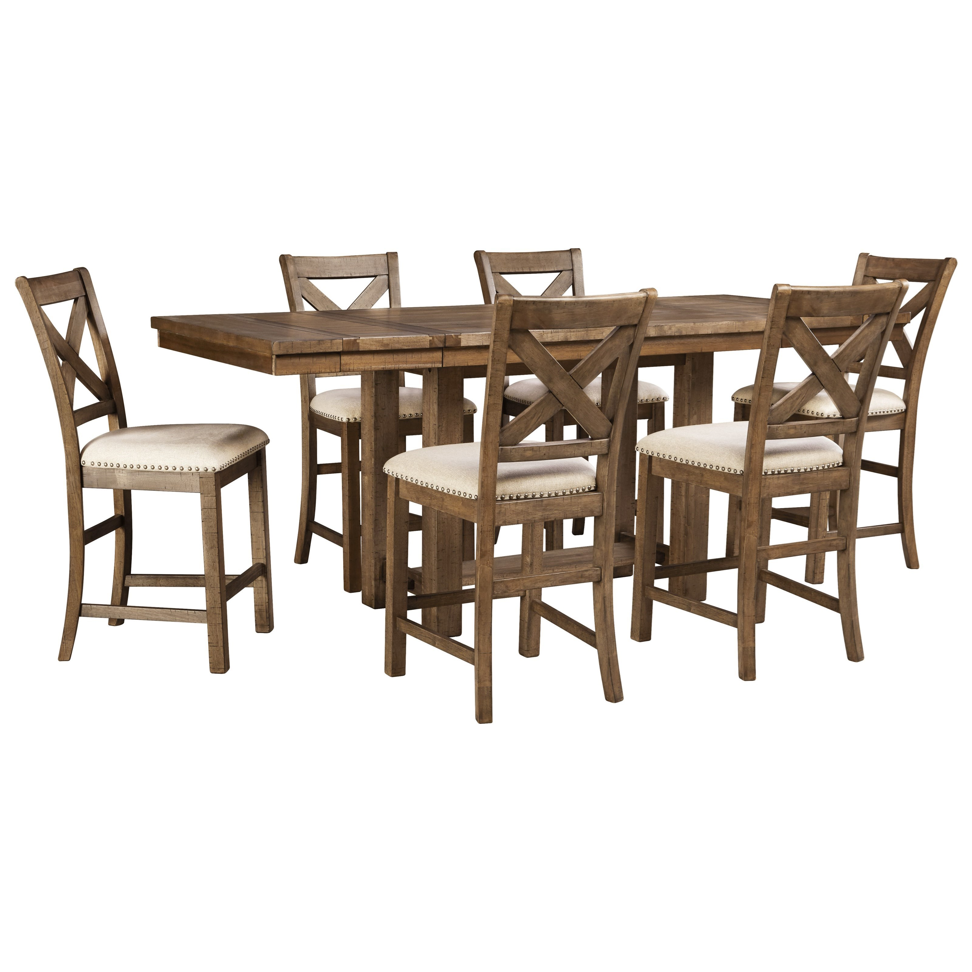 Moriville 7-Piece Rectangular Ext Counter Table Set by Signature Design by Ashley at Zak's Warehouse Clearance Center