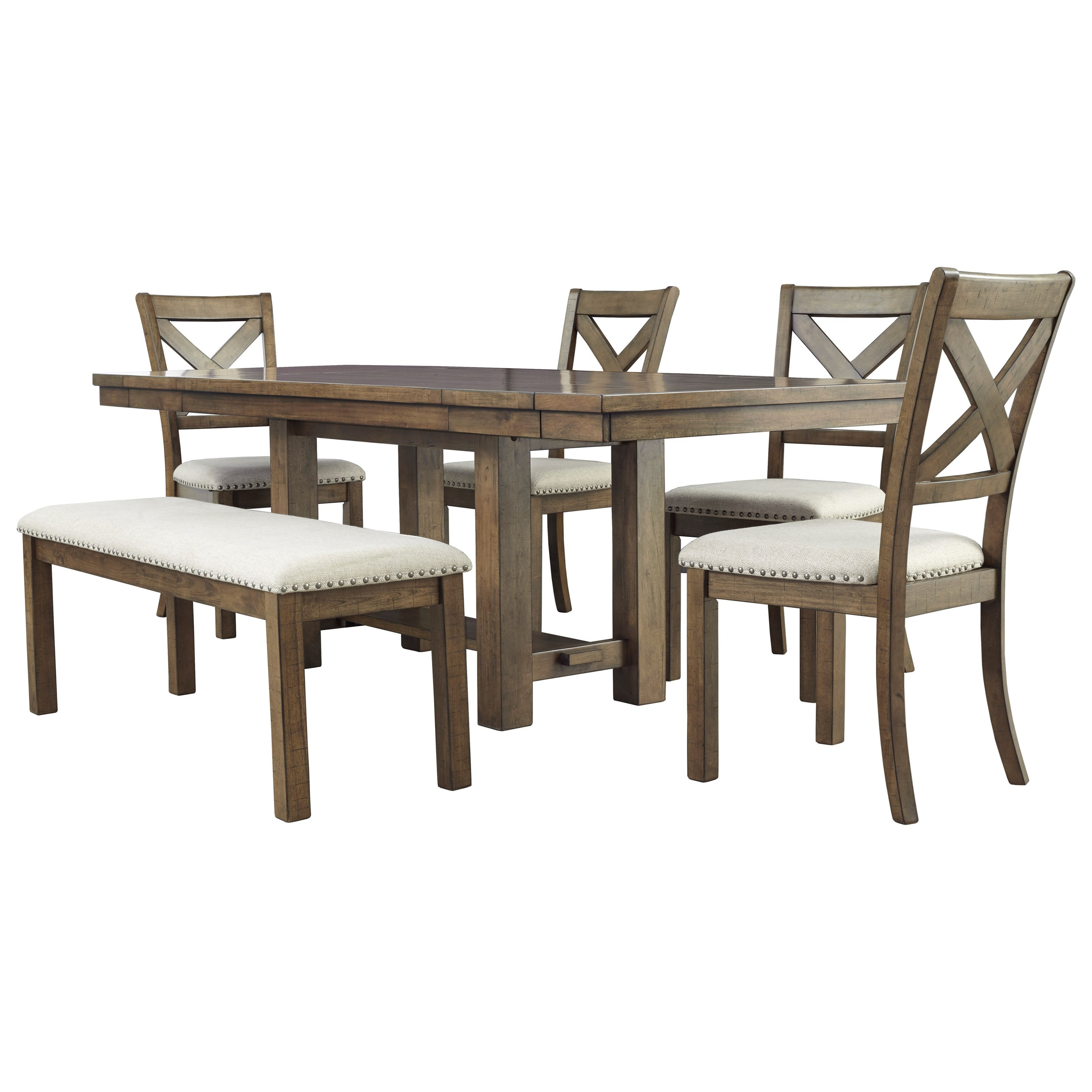 Moriville 6-Piece Table and Chair Set with Bench by Signature Design by Ashley at Beck's Furniture