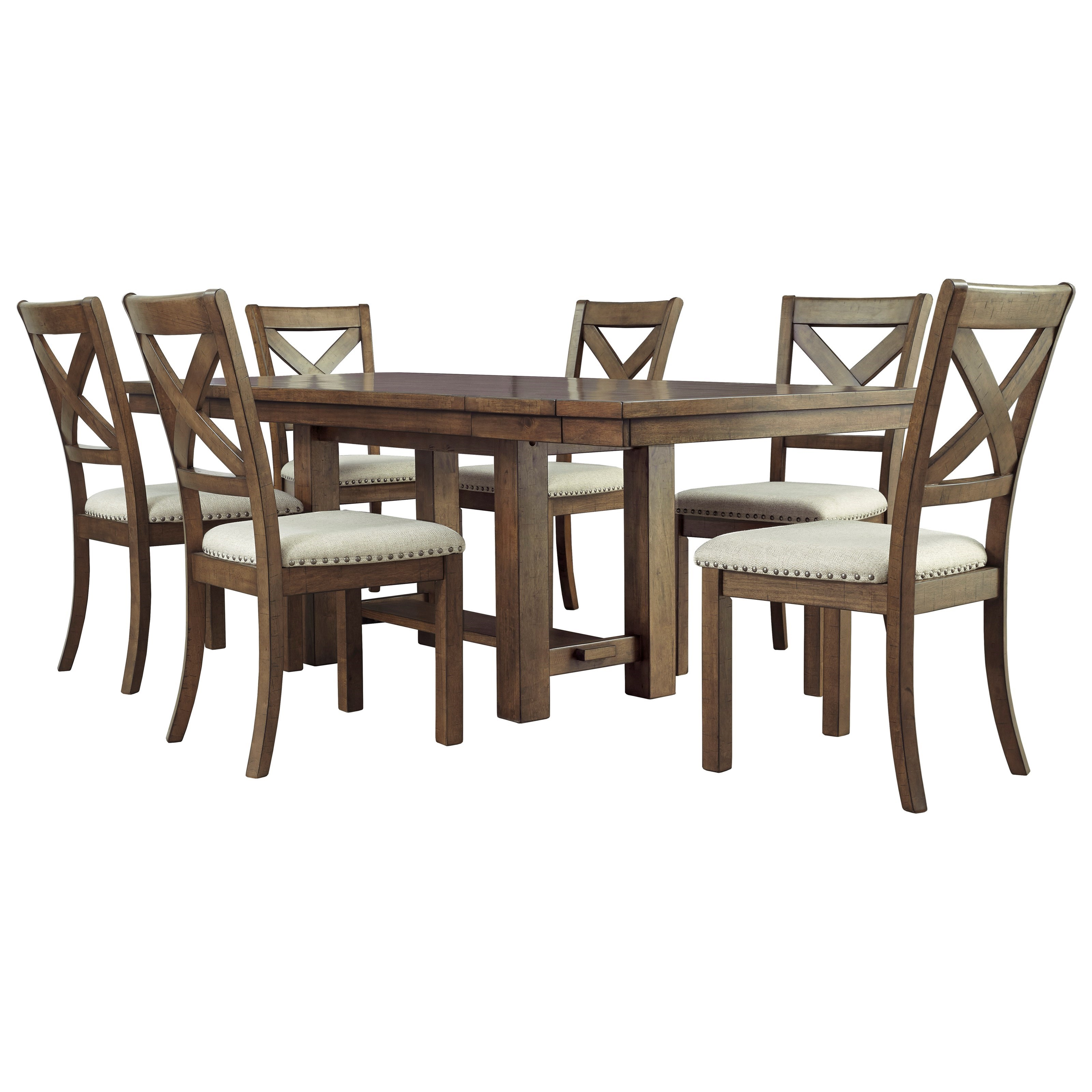 Moriville 7-Piece Table and Chair Set by Ashley (Signature Design) at Johnny Janosik