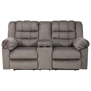 Signature Design by Ashley Mort Double Reclining Loveseat w/ Console