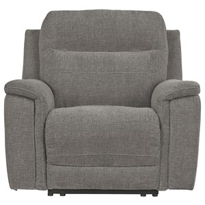 Contemporary Power Recliner w/ Adjustable Headrest and USB Charging