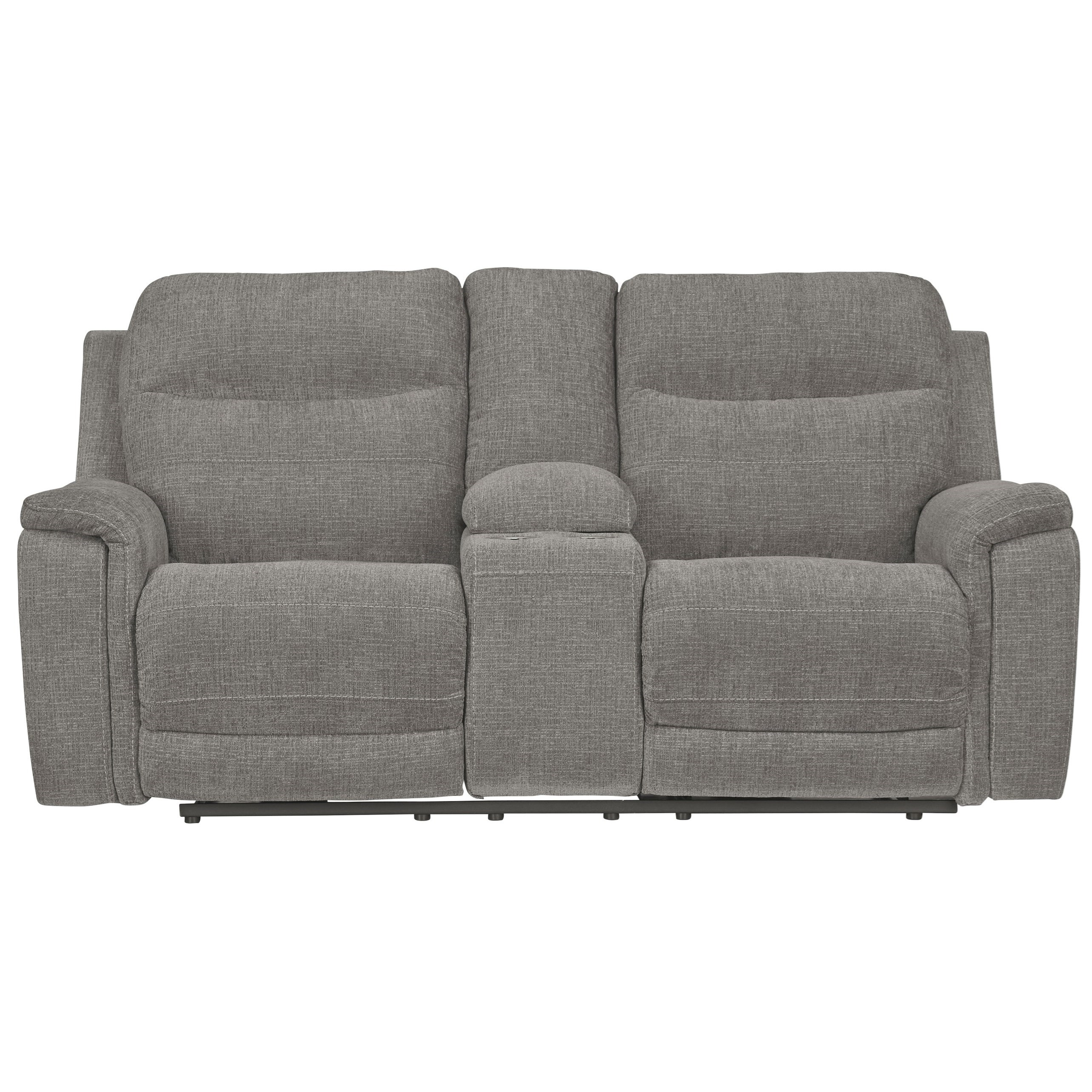 Mouttrie Pwr Rec Loveseat with Console & Adj Hdrsts by Ashley (Signature Design) at Johnny Janosik
