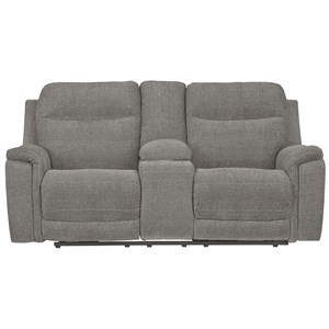 Contemporary Power Reclining Loveseat with Console & Adjustable Headrests
