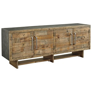 "Industrial Reclaimed Pine Extra Large 72"" TV Stand with Faux Metal Top"