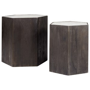 2-Piece Contemporary Gray Solid Wood Accent Table Set with Marble Top