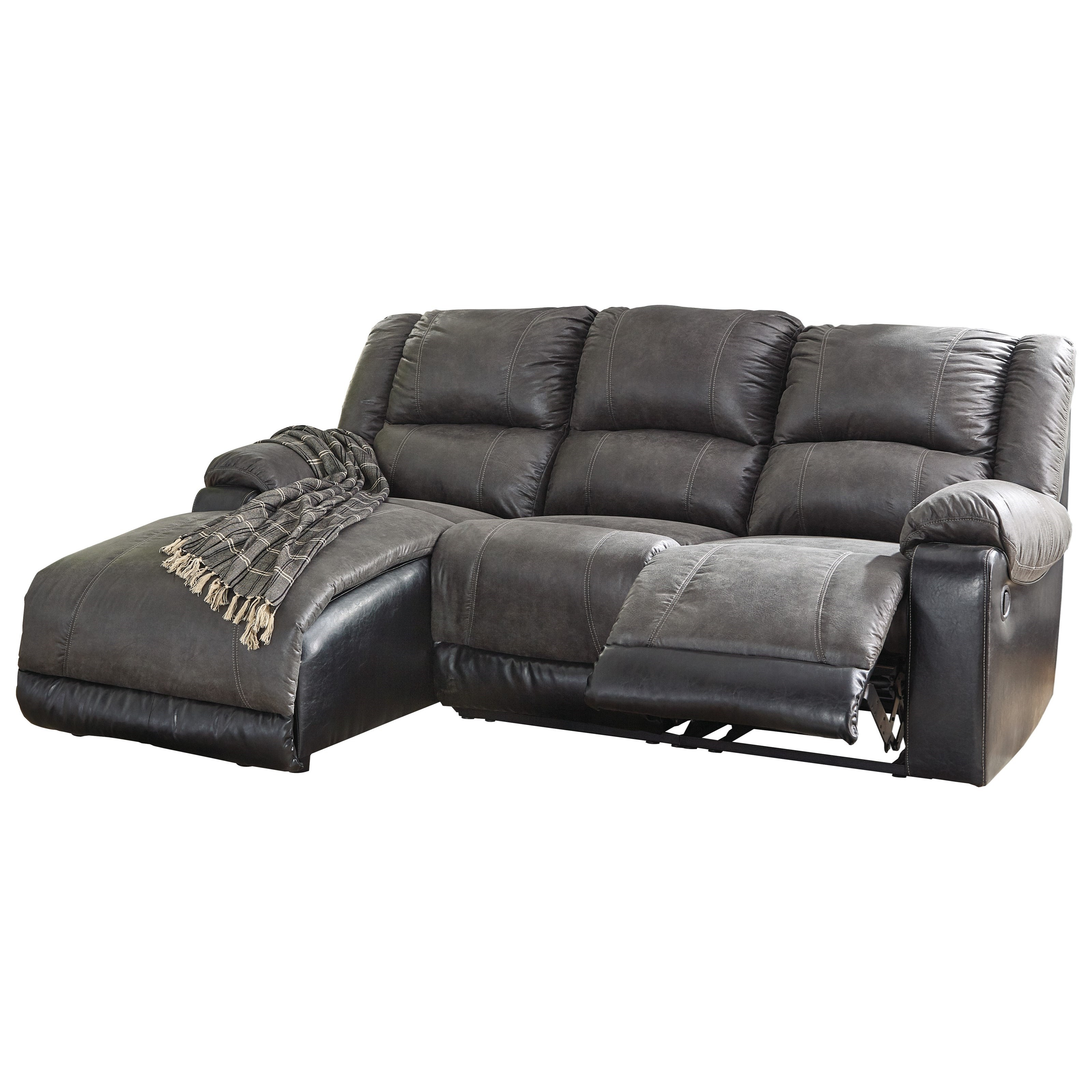 Nantahala Reclining Sofa with Chaise by Signature Design by Ashley at Furniture Barn
