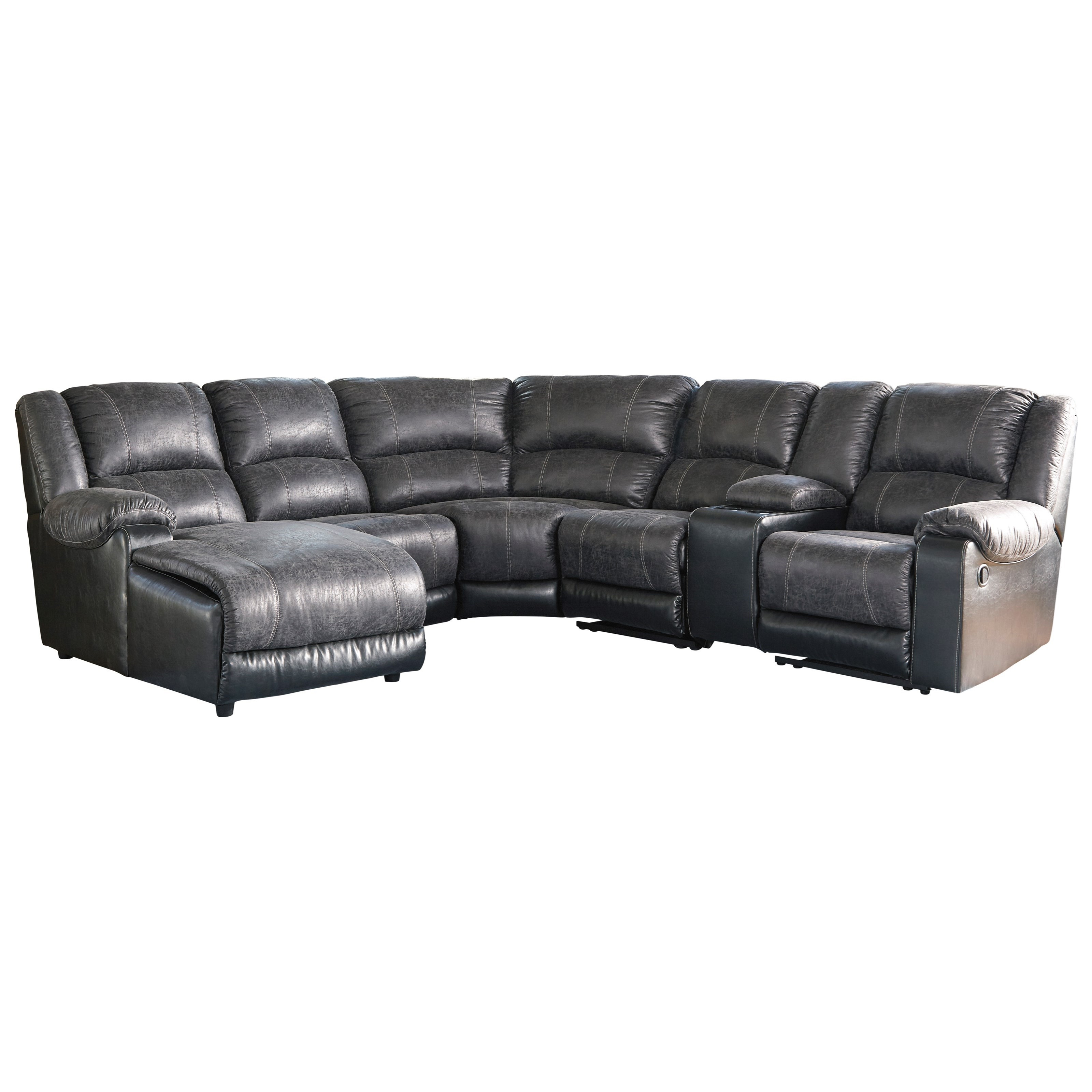 Nantahala Reclining Sectional with Chaise & Console by Signature Design by Ashley at Value City Furniture