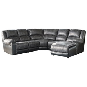 Faux Leather Reclining Sectional with Chaise
