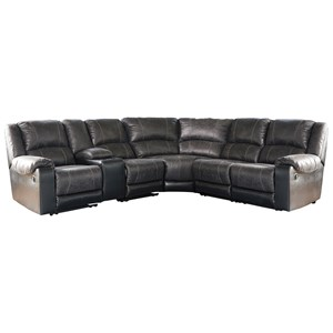 Faux Leather Reclining Sectional with Console