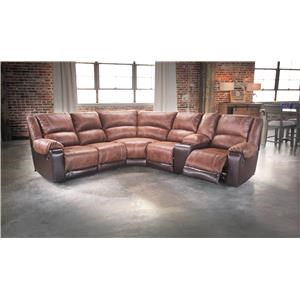 Faux Leather Reclining Sectional with Console & 3 Recliners