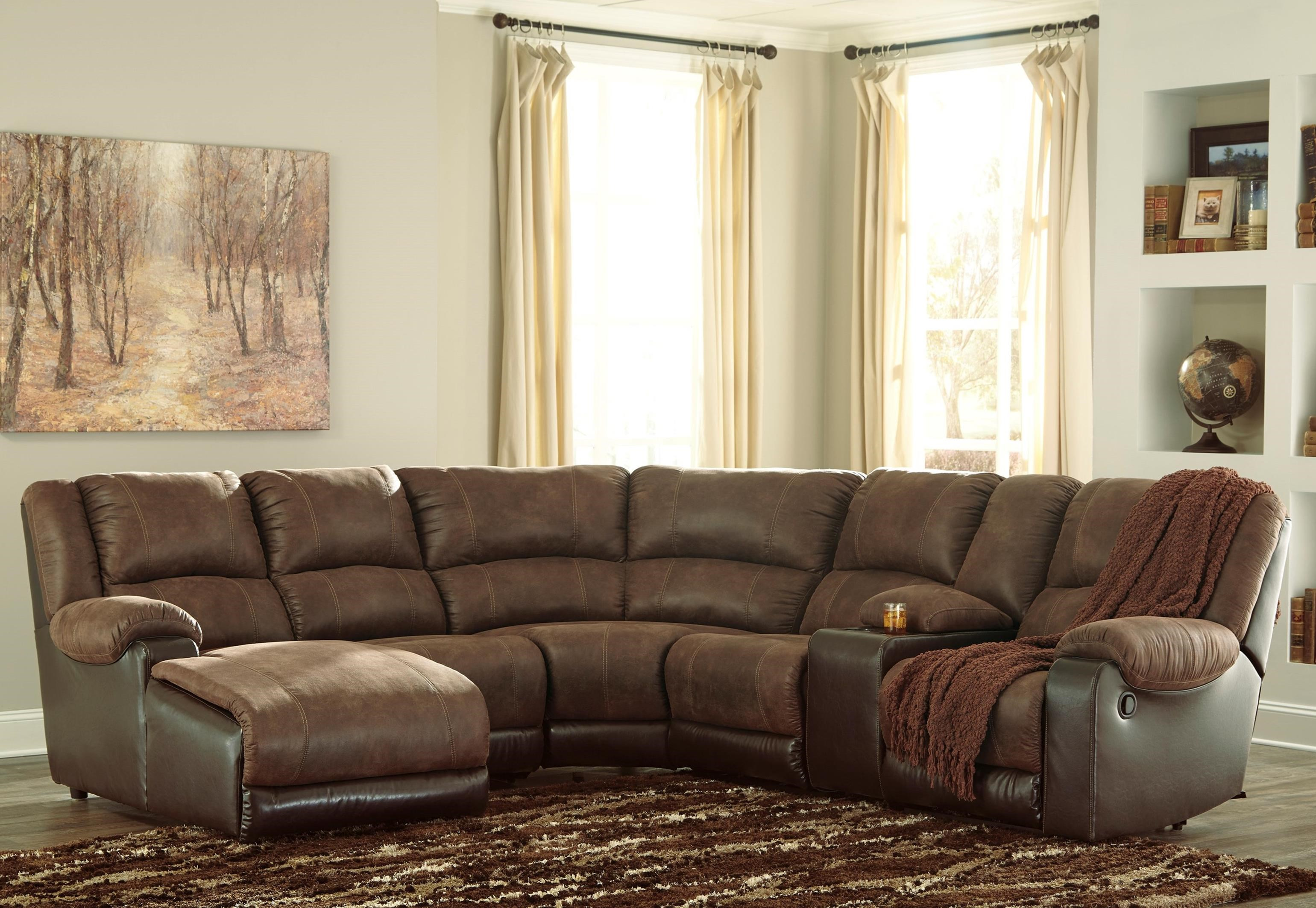 Nantahala Reclining Sectional with Chaise & Console by Ashley (Signature Design) at Johnny Janosik