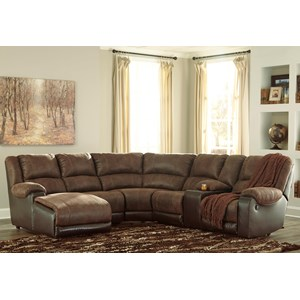 Faux Leather Reclining Sectional with Chaise & Console