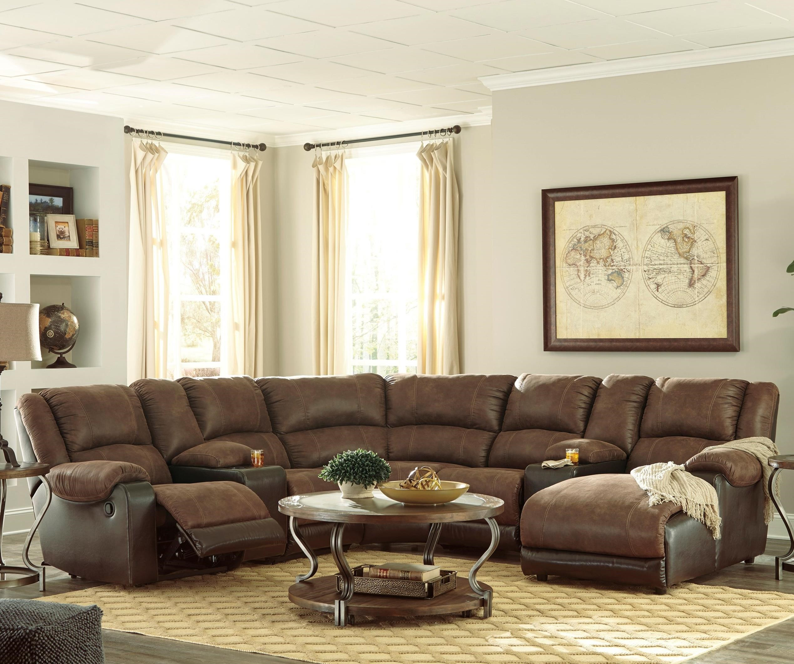 Nantahala Reclining Sectional with 2 Consoles & Chaise by Ashley (Signature Design) at Johnny Janosik