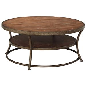 Rustic Metal Frame Round Cocktail Table with Distressed Pine Top & Shelf
