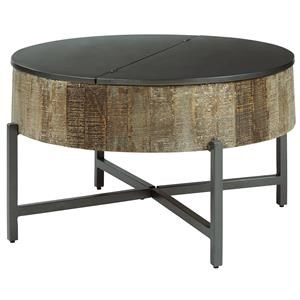 Round Cocktail Table with Storage and 2 Round End Tables with Storage Set