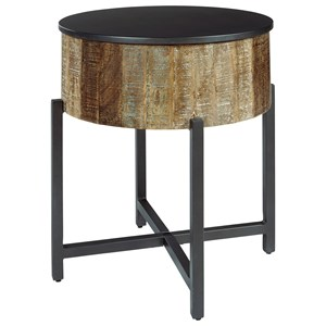 Rustic Round End Table with Metal Base and Lid Top