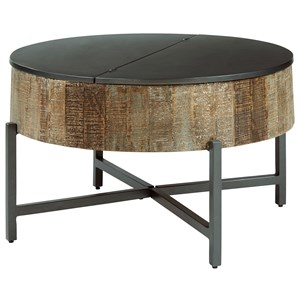 Rustic Round Cocktail Table with Metal Base and Lid Top