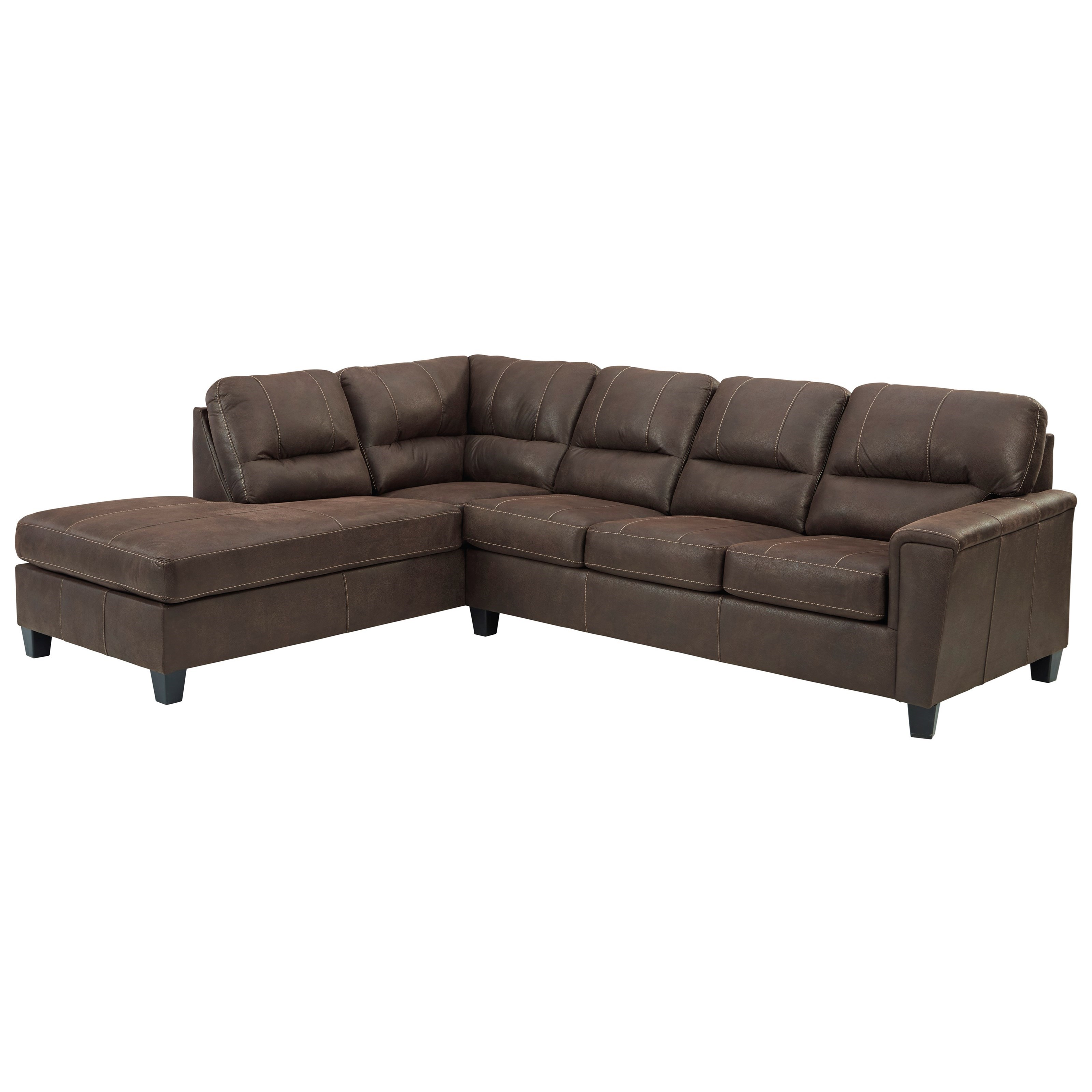Nash Chestnut 2-Piece Sectional w/ Left Chaise & Sleeper by Signature at Walker's Furniture