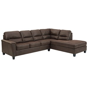 Faux Leather 2-Piece Sectional with Right Chaise