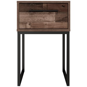 Rustic 1-Drawer Nightstand with Butcher Block Pattern and Metal Sled Legs