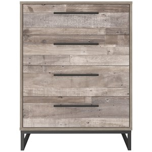 Rustic 4-Drawer Chest with Butcher Block Pattern and Metal Sled Legs