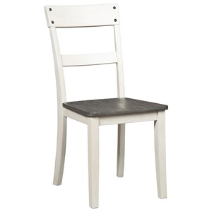 Farmhouse Two-Tone Ladderback Dining Room Side Chair