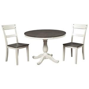 Farmhouse Two-Tone 3-Piece Round Dining Table Set