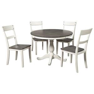Farmhouse Two-Tone 5-Piece Round Dining Table Set
