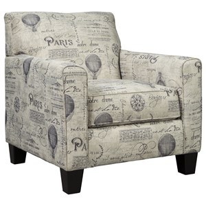 Accent Chair with Paris Script on Linen-Like Fabric