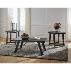 Industrial Rectangular Occasional Table Group with Planked Top
