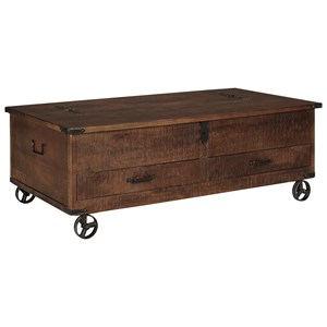 Rustic Storage Cocktail Table with Hinged Top and Industrial Wheels