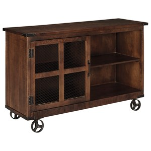Rustic Industrial Console with Door & Wheels