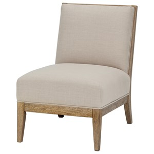 Armless Accent Chair with Wood Frame