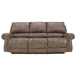 Reclining Sofa with Rolled Arms & Nail Head Trim