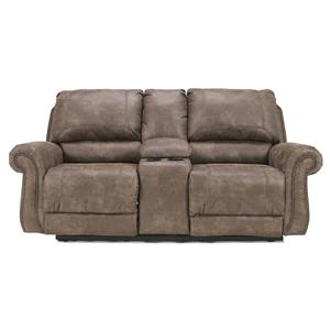 Signature Design by Ashley Oberson - Gunsmoke Double Reclining Power Loveseat w/ Console