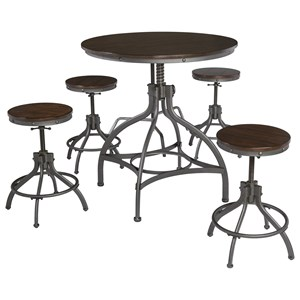 Adjustable 5-Piece Dining Room Counter Table Set