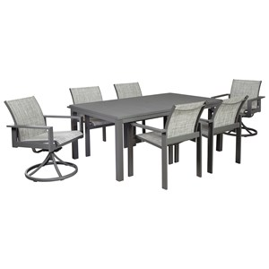 7-Piece Outdoor Dining Set with Swivel Chairs and Sling Chairs