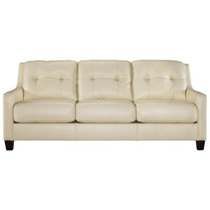 Contemporary Leather Match Sofa with Tufted Back & Track Arms