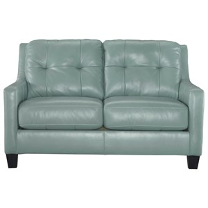 Contemporary Leather Match Loveseat with Tufted Back & Track Arms