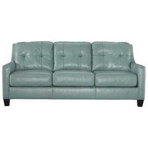 Contemporary Leather Match Queen Sofa Sleeper