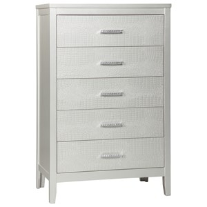 Glam Five Drawer Chest with Faux Crystal Drawer Pulls