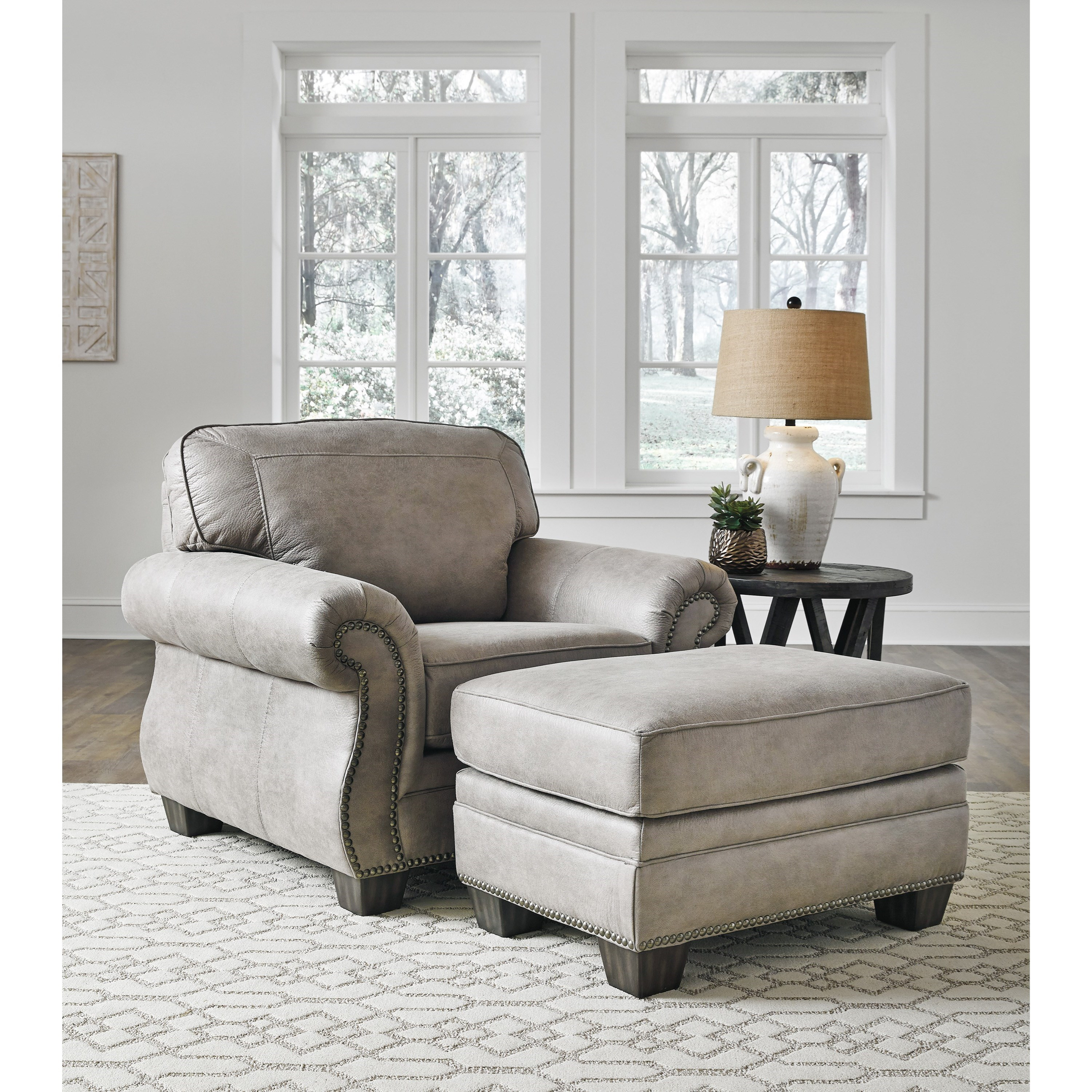 Olsberg Chair and Ottoman by Signature at Walker's Furniture
