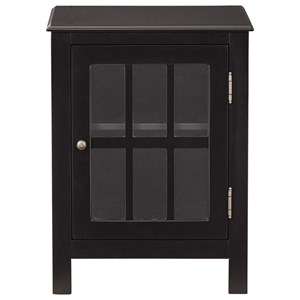 Black Accent Cabinet with Lattice Glass Door