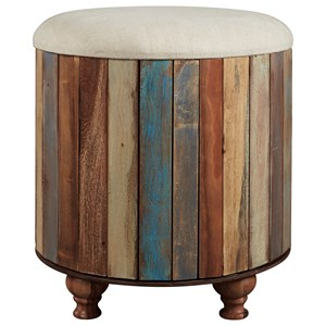 Multicolor Recycled Wood Storage Ottoman with Upholstered Top
